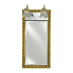 Afina Signature Traditional Lighted 24W x 34H in. Surface Mount Medicine Cabinet - Dress up the guest bath in a flash with the Afina Signature Traditional Lighted 24W x 34H in. Surface Mount Medicine Cabinet. This medicine cabinet is available in over 50 different classic frame styles and finish options and surface-mounts to any wall for easy installation. It features a tastefully ornate frame with an inset beveled mirror that opens to show two interior mirrors and three adjustable glass shelves. It comes with two elegant light sconces above for plenty of illumination.About AfinaAfina Corporation is a manufacturer and importer of fine bath cabinetry, lighting fixtures, and decorative wall mirrors. Afina products are available in an extensive palette of colors and decorative styles to reflect the trends of a new millennium. Based in Paterson, N.J., Afina is committed to providing fine products that will be an integral part of your unique bath environment.