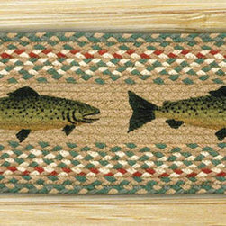 Earth Rugs - ST-OP-09 Fish Oval Stair Tread 27in.x8.25in. - Fish Oval Stair Tread 27 in. x8.25 in.