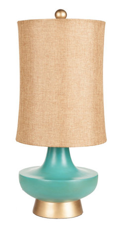 """Surya - Surya Urn Aged Turquoise Table Lamp - Compelling curves charm on Surya's aged turquoise Urn table lamp. Topped by a gold linen shade, this dramatic light fixture rests on a gold base for glam style. 12""""W x 12.5""""D x 16""""H; Resin; Gold linen shade; Brown cord; Three-way metal turn knob; Decorative finial; Accepts one 100W max bulb (not included)"""