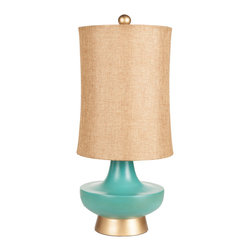 "Surya - Surya Urn Aged Turquoise Table Lamp - Compelling curves charm on Surya's aged turquoise Urn table lamp. Topped by a gold linen shade, this dramatic light fixture rests on a gold base for glam style. 12""W x 12.5""D x 16""H; Resin; Gold linen shade; Brown cord; Three-way metal turn knob; Decorative finial; Accepts one 100W max bulb (not included)"