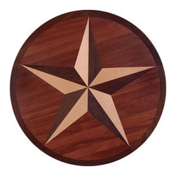 """Custom Hardwood Supply - Texas Star Hardwood Flooring Inlay, Santos Mahogany, Maple, Peruvian Walnut, 24 - This hardwood flooring inlay comes standard 3/4"""" thick species.  Inlays come unfinished but can be custom ordered pre-finished for an additional charge. Manufactured in Louisville, Kentucky."""