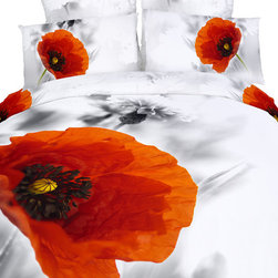 Dolce Mela - Beautiful Floral 6 Piece Quilt/Duvet Cover Bedding Set by Dolce Mela, King - Sweet and vibrant is the bedroom setting you will create with this floral print of poppies on your bed.