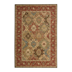 "Nourison - Nourison Living Treasures LI03 5'6"" x 8'3"" Multicolor Area Rug 67208 - The beauty is in the details of this elegantly conceived rug that dazzles the eye with jewel tones. An overlapping cartouche pattern suggests rich abundance. Ruby red, shimmering turquoise, gleaming ivory, earthy brown and soft green mingle in marvelous multicolor harmony."