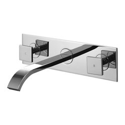 Vigo - Vigo Square Double Handles Wallmount Faucet - Give your bathroom a sleek,contemporary feel with this chrome-plated wall mount faucet. Its high-polished finish and brass construction will ensure long-lasting durability while its double-handle design will keep your bathroom stylish and elegant.