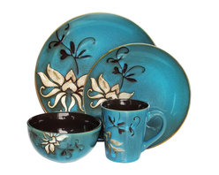 Jay Import Co - Mirabel 16 Piece Dinnerware Set, Blue - Bold yet elegant, this 16-piece dinnerware set (full service for four) will make your everyday meals feel special. The single graceful bloom against a beautiful blue or green background brings true charm to your table.