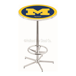Holland Bar Stool - Holland Bar Stool L216 - 42 Inch Chrome Michigan Pub Table - L216 - 42 Inch Chrome Michigan Pub Table  belongs to College Collection by Holland Bar Stool Made for the ultimate sports fan, impress your buddies with this knockout from Holland Bar Stool. This L216 Michigan table with retro inspried base provides a quality piece to for your Man Cave. You can't find a higher quality logo table on the market. The plating grade steel used to build the frame ensures it will withstand the abuse of the rowdiest of friends for years to come. The structure is triple chrome plated to ensure a rich, sleek, long lasting finish. If you're finishing your bar or game room, do it right with a table from Holland Bar Stool.  Pub Table (1)