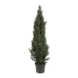 5' Mini Cedar Pine Tree (Indoor/Outdoor) - Deck the halls with a pair of these lovely Mini Cedar Pine Trees. At 5 feet tall, they're the perfect size to adorn your home entryway or place them at opposite ends of a fireplace to create a cozy charming appeal. Covered with bright green foliage that looks and feels so real, you may forget not to water them. A basic planter filled with soil further compliments this all natural masterpiece. Height= 5 ft x Width= 19 in x Depth= 19 in