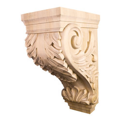Hardware Resources - White Birch Kitchen Hood Acanthus Corbels - Large Traditional Kitchen Hood Wood Acanthus Corbel. 9-1/2In. x 16In. x 24In.