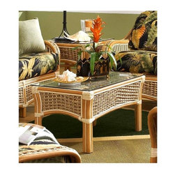 Spice Island Wicker - Coffee Table with Glass (Natural) - A braided weave pattern adds visual interest to this casual coffee table, crafted of rattan and wicker in natural finish. A relaxed, comfortable choice that will bring a refreshing touch of summer breeze to any decor, the table has a glass top for added versatility. Natural finish. 34 in. W x 19.5 in. D x 18 in. H (55 lbs.)