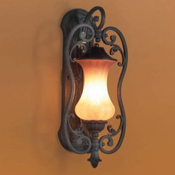 Eurofase - Eurofase 17508-018 Corsica 1 Light Small Outdoor Wall Sconce in Aged Iron 17508- - T10 BulbBulb Base: E26 Bulb Included: No Bulb Type: Incandescent Collection: Corsica Extension: 7-1 8 Finish: Aged Iron Height: 18 Length: 8 Light Direction: Up Lighting Max Wattage: 60 Number of Lights: 1 Safety Rating: cETLus Shade Finish: Amber Size: Small Socket 1 Base: E26 Socket 1 Max Wattage: 60 Style: Transitional Suggested Room Fit: Outdoor Voltage: 120