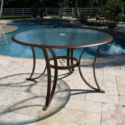 Hospitality Rattan - Hospitality Rattan Coco Palm 48 in. Round Patio Dining Table with Tempered Glass - Shop for Tables from Hayneedle.com! This traditional and fun Hospitality Rattan Coco Palm 48 in. Round Patio Dining Table with Tempered Glass - Dark Bronze incorporates tropical notes with grounded extruded aluminum frames that won't rust through the years. The highly durable Coco Palm chairs are easy-to-stack for convenient storage when not in use. The tempered glass dining table tops accommodate an umbrella.About Hospitality Rattan Hospitality Rattan has been a leading manufacturer and distributor of contract quality rattan wicker and bamboo furnishings since 2000. The company's product lines have become dominant in the Casual Rattan Wicker and Outdoor Markets because of their quality construction variety and attractive design. Designed for buyers who appreciate upscale furniture with a tropical feel Hospitality Rattan offers a range of indoor and outdoor collections featuring all-aluminum frames woven with Viro or Rehau synthetic wicker fiber that will not fade or crack when subjected to the elements. Hospitality Rattan furniture is manufactured to hospitality specifications and quality standards which exceed the standards for residential use. Hospitality Rattan's Environmental Commitment Hospitality Rattan is continually looking for ways to limit their impact on the environment and is always trying to use the most environmentally friendly manufacturing techniques and materials possible. The company manufactures the highest quality furniture following sound and responsible environmental policies with minimal impact on natural resources. Hospitality Rattan is also committed to achieving environmental best practices throughout its activity whenever this is practical and takes responsibility for the development and implementation of environmental best practices throughout all operations. Hospitality Rattan maintains a policy of continuous environmental improvement
