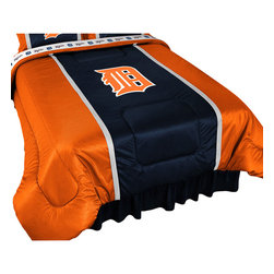 Sports Coverage - MLB Detroit Tigers Comforter Sidelines Baseball Bedding, Queen - Features: