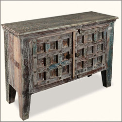 Gothic Gates Standing Buffet Storage Cabinet Reclaimed Wood Furniture -