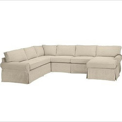 """PB Basic Left 4-Piece Chaise Sectional Slipcover, Linen Oatmeal - Designed exclusively for our PB Basic Sectional, these easy-care slipcovers have a casual drape, retain their smooth fit, and remove easily for cleaning. Select """"Living Room"""" in our {{link path='http://potterybarn.icovia.com/icovia.aspx' class='popup' width='900' height='700'}}Room Planner{{/link}} to select a configuration that's ideal for your space. This item can also be customized with your choice of over {{link path='pages/popups/fab_leather_popup.html' class='popup' width='720' height='800'}}80 custom fabrics and colors{{/link}}. For details and pricing on custom fabrics, please call us at 1.800.840.3658 or click Live Help. All slipcover fabrics are hand selected for softness, quality and durability. {{link path='pages/popups/sectionalsheet.html' class='popup' width='720' height='800'}}Left-arm or right-arm configuration{{/link}} is determined by the location of the arm on the love seat as you face the piece. This is a special-order item and ships directly from the manufacturer. To view our order and return policy, click on the Shipping Info tab above."""