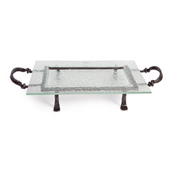Danya B. - Rectangular Textured Glass Serving Platter and Iron Stand with Handles - Frame your food elegantly in textured glass with this rectangular tray on a rustic iron stand. Serve in style with this recycled glass platter, which is easily removable from the stand and dishwasher safe.