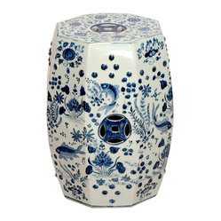 Octagon Blue and White Koi Fish Ceramic Garden Stool Seat