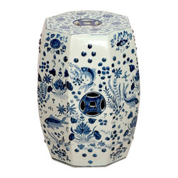 Kathy Kuo Home - Octagon Blue and White Koi Fish Ceramic Garden Stool Seat - Traditionally used in China as tea tables- these garden stools make a perfect addition to your living space as side tables, or clustered together to be used as a coffee table.  Glazes are triple fired for added luster and shine.  With a hand made product, glaze variations of up to 10% is to be expected.