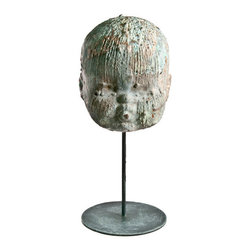 Salvatecture Studio - Vintage Copper Doll Head Factory Mold On Stand 2 - Doll up a room with this vintage mold. You can see that this was actually used in factories and this piece will certainly get people talking, whether you opt to put it in an office or workshop or wherever.