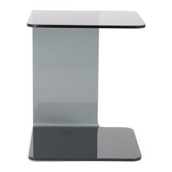 Eurostyle - Bonfilia Glass Side Table-Smk - Smoked bent glass, 12mm thick