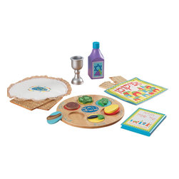 """KidKraft - Kidkraft Kids Children Home Indoor Pretend Play Toy Practice Passover Meal Set - The Passover Seder is an important time of year for Jewish families. Our Passover Set helps children learn about this important tradition in a hands-on manner that is sure to hold their interest. Dimension: 10""""x 10""""x.75""""Largest piece"""" set"""