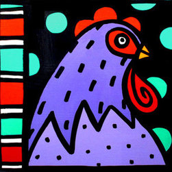 """Chicken + Dots + Stripes"" (Original) By Anne Leuck Feldhaus - Anne Leuck Feldhaus"
