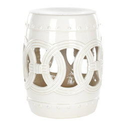 Safavieh - White Ceramic Double Coin Stool ACS4500C - Indoors or out, this classic Chinese garden stool design lends a touch of Feng Shui serenity. Inspired by the Asian linked coin motif believed to bring good luck, our Double Coin stool is lustrous in creamy white high fired ceramic.