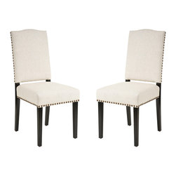 Great Deal Furniture - Stuart Beige Fabric Dining Chair (Set of 2) - The Stuart dining chair is upholstered in fine, soft beige fabric, accentuated with brass nailheads along the perimeter, and stands on espresso stained legs. Stylish and comfortable, you will enjoy having this dining chair in your home.