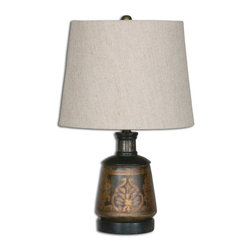 Uttermost - Uttermost Mela Traditional Hand Painted Table Lamp X-11262 - Terracotta base hand painted in aged black and gold with heavy antiquing. The round, slightly tapered hardback shade is a taupe beige linen fabric.