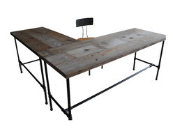 Urban Wood Goods - Modern Industry L Shape Reclaimed Wood Desk - Corner office. Your new L-shaped reclaimed wood desk is a salute to industrial strength, workplace smarts and urban style … all achieved with disarming honesty and authenticity. Take your seat. You've officially arrived.