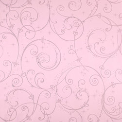 York - Dk5967 Perfect Princess Scroll Kids Girl Wallpaper - DK5967 Perfect Princess Scroll from Disney Kids by York is a pink and silver wallpaper with a kids girl scroll pattern.  This collection of Disney inspired kids wallpapers and borders are prepasted and vinyl coated.