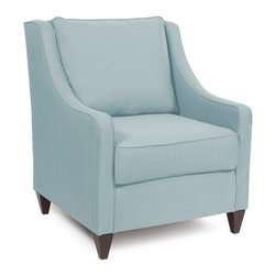 """Howard Elliott - Sterling Breeze Side Car Chair - Our Side Car Chair features classic styling in bold fabrics. It is hand crafted with extra plush cushions with removable covers for easy care. Seat height is 22"""" - seat depth is 23"""" . This Sterling Breeze piece is 100% Polyester finished in a soft burlap light blue breeze color. 33 in. W x 37 in. D x 40 in. H"""