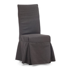 ZUO ERA - Dog Patch Chair Charcoal Gray (set of 2) - Slip into this casual but stylish chair at your next dinner party. The pair of solid wood dining chairs comes draped in either a beige or charcoal linen slipcover and features four decorative ties in back. It's a great understated addition to your dining room.