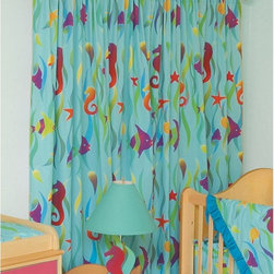 Room Magic - Room Magic Tropical Seas Window Panels Curtain Set - RM16-TS - Shop for Window Treatments from Hayneedle.com! The Room Magic Tropical Seas Window Panels Curtain Set coordinates with the series' bedding set knobs and accessories for a complete matching look. This adorable designer fabric has sea horses angelfish shells and starfish floating among the seaweed for creative kids with adventurous minds. At 84 inches long and 59 inches wide the two panels perfectly cover even large windows.About Room MagicRoom Magic doesn't just make children's furniture; they design furniture specifically for children using the magic of childhood imagination and creativity as a guiding principle. Beginning in 1999 with graphic designer Karen Andrea's attempt to create a truly lively and unique room for her five-year-old daughter Sarah the company has maintained a focus on using bright colors and unique themes that steer clear of cliched motifs. Bright and bold playful cut outs decorate the quality hardwood pieces finished with beautiful stains. With collections that are geared both to boys and to girls Room Magic provides the furniture accessories and bedding you need to bring the magical fun of childhood to your kids' rooms.