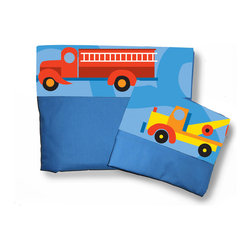 Room Magic - Boys Like Trucks Twin Sheets/Pillowcase Set - Our Trucks twin sheets set has a solid fitted sheet and solid top sheet and pillowcase trimmed with a designer print border with trucks of every kind, making the Boys Like Trucks bed assemble complete.  Available in Twin size in the finest 100% Cotton poplin.