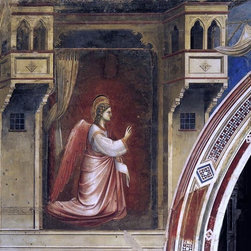 """Giotto Di Bondone Annunciation: The Angel Gabriel Sent by God Print - 16"""" x 16"""" Giotto Di Bondone Annunciation: The Angel Gabriel Sent by God (Cappella Scrovegni (Arena Chapel), Padua) premium archival print reproduced to meet museum quality standards. Our museum quality archival prints are produced using high-precision print technology for a more accurate reproduction printed on high quality, heavyweight matte presentation paper with fade-resistant, archival inks. Our progressive business model allows us to offer works of art to you at the best wholesale pricing, significantly less than art gallery prices, affordable to all. This line of artwork is produced with extra white border space (if you choose to have it framed, for your framer to work with to frame properly or utilize a larger mat and/or frame).  We present a comprehensive collection of exceptional art reproductions byGiotto Di Bondone."""