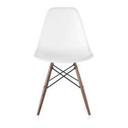 Herman Miller - Herman Miller Eames Molded Plastic Side Chair Dowel Base - In this expression of the Charles and Ray Eames single-form Molded Plastic chair, a solid maple wood dowel base offers a warm counterpoint to the 100 percent recyclable polypropylene shell material.