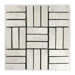 CNK Tile - Cream Weave Stone Mosaic Tile - Usage: