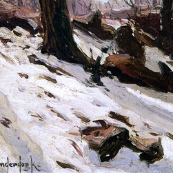 """Julian Onderdonk Snow near the Cave, Central Park, New York - 16"""" x 24"""" Premium - 16"""" x 24"""" Julian Onderdonk Snow near the Cave, Central Park, New York premium archival print reproduced to meet museum quality standards. Our museum quality archival prints are produced using high-precision print technology for a more accurate reproduction printed on high quality, heavyweight matte presentation paper with fade-resistant, archival inks. Our progressive business model allows us to offer works of art to you at the best wholesale pricing, significantly less than art gallery prices, affordable to all. This line of artwork is produced with extra white border space (if you choose to have it framed, for your framer to work with to frame properly or utilize a larger mat and/or frame).  We present a comprehensive collection of exceptional art reproductions byJulian Onderdonk."""