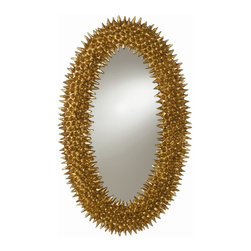 Arteriors - Spore Mirror, Gold - A faithful reproduction of a Parisian piece circa the 1960s, this remarkable oval mirror makes a bold, bright style statement in your home. It's the juxtaposition of the organic pod-like texture and the bright finish that makes it so unique.