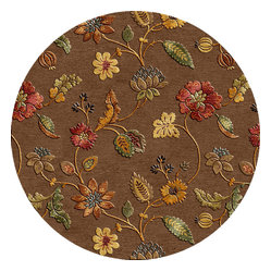 Transitional Floral Pattern Beige-Brown Wool-Silk Tufted Rug BL45