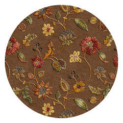Jaipur Rugs - Transitional Floral Pattern Beige /Brown Wool/Silk Tufted Rug - BL45, 8'RD - Bring your love for nature inside your home with this round floral rug. Featuring a raised pattern for extra plushness, this wool and silk hand-tufted rug will make a magnificent addition to your traditional or contemporary home.