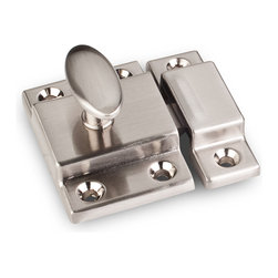 Jeffrey Alexander - Nickel Cabinet Door Latches - Jeffrey Alexander item number CL101-SN is a beautifully finished Nickel Cabinet Door Latches. Product Dimension(s): Hole Spacing: 96.012 mm. / 3 25/32 in.Diameter: 13.97 mm. / 9/16 in.