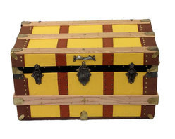 Cabin Trunk - In heavy-weight yellow 100% cotton canvas duck, supple brown leather binding and pigskin haircell attached strapping, this trunk is an eye catcher.