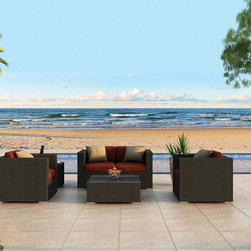 4-Pc Urbana Sofa Set by Harmonia Living - The 4 Piece Urbana Sofa Set by Harmonia Living (HL-URBN-4SS)  features designer style and top quality construction all at an affordable price. Designed to be arranged and rearranged in dozens of configurations, the Urbana Outdoor Sofa Set is a practical choice because of the modestly sized love seat and versatile club chairs. The brushed aluminum feet and bold clean lines give this set a modern look.