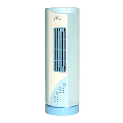 Sunpentown - Mini Tower Fan - A stylish, space-saving mini tower fan that sits conveniently on your desktop or countertop. 3 speed settings generate quite, comfortable airflow. Small footprint fits conveniently in small spaces. 45 oscillation for wider air distribution.
