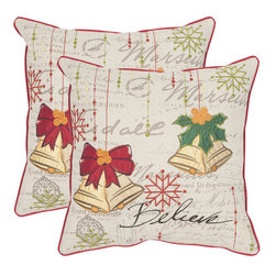 Safavieh - Decorative Bells Pillows in Beige & Multi - Set Of 2 - Seasons greetings take on a decorative vibe in the Holiday Bells set of two pillows in mulit-color print against a beige ground. Crafted of a crisp cotton and linen blend, this design boasts a background recalling handwriting on a vintage holiday card.