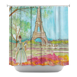 DiaNoche Designs - Shower Curtain Artistic - Vintage Paris - DiaNoche Designs works with artists from around the world to bring unique, artistic products to decorate all aspects of your home.  Our designer Shower Curtains will be the talk of every guest to visit your bathroom!  Our Shower Curtains have Sewn reinforced holes for curtain rings, Shower Curtain Rings Not Included.  Dye Sublimation printing adheres the ink to the material for long life and durability. Machine Wash upon arrival for maximum softness. Made in USA.  Shower Curtain Rings Not Included.