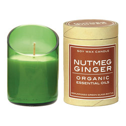 Be Home - Recycled-Glass Candle, Diagonal Cut, Nutmeg Ginger, Green - Spice things up with a warm blend of nutmeg and ginger. This planet-friendly candle boasts ecocertified essential oils, long-burning soy wax and a wick of unbleached cotton, encased in a recycled glass bottle.