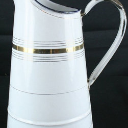 EuroLux Home - Consigned Antique French White Gold Striped Enamel - Product Details