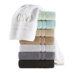Waterworks Studio - Waterworks Studio Double Dobby Hand Towel, Monogrammed - These luxuriously plush, 650-gram towels are made of combed Turkish cotton for a perfect balance of absorbency and softness. Available in Moon (white), Stone (moss green), Seaglass (aqua), Prairie (light tan), Sandstone (dark tan), Cloud (light gray),....